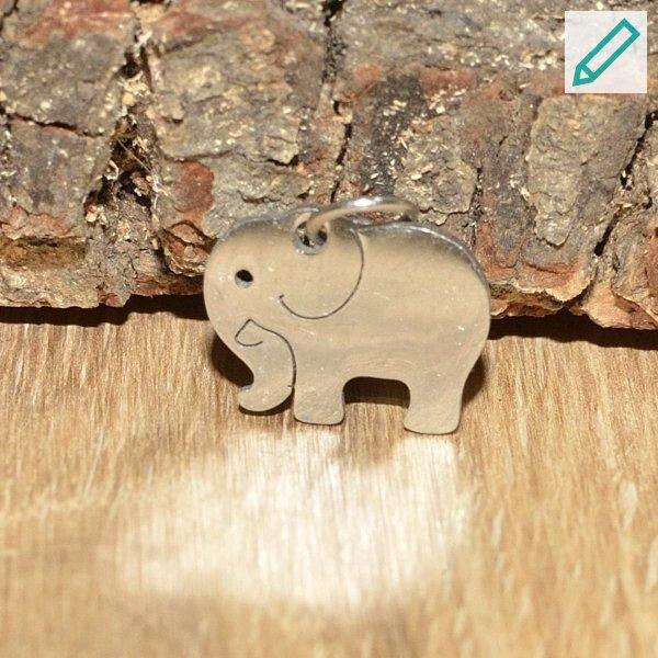 Charm Elefant, Edelstahl bzw. Edelstahl / Glas, personalisierbar