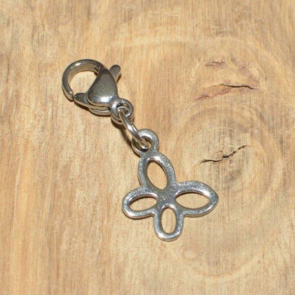 Charm kleiner Schmetterling, Edelstahl bzw. Edelstahl / Glas, personalisierbar