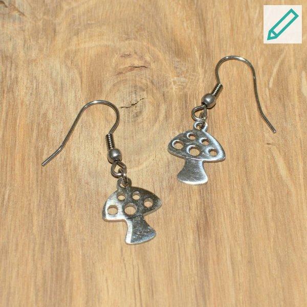 Ohrringe / Ohrhänger Fliegenpilz, Edelstahl, personalisierbar