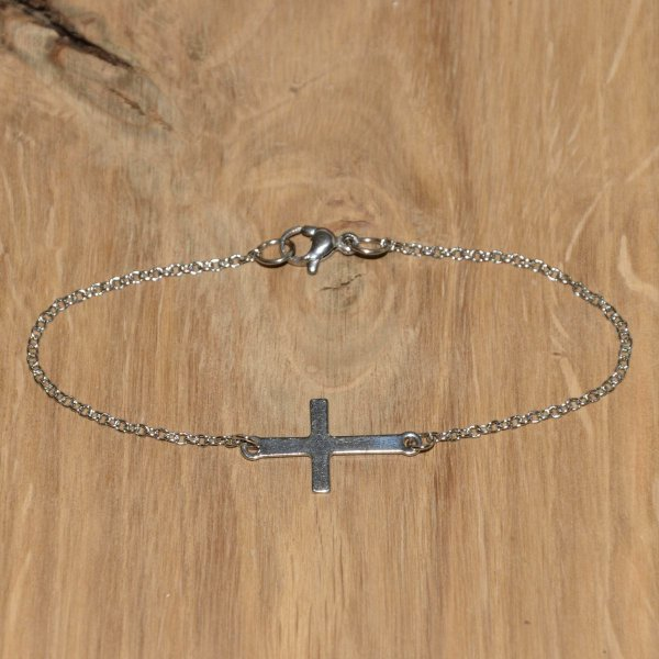 "Armband ""In Between"" Kreuz, Ankerarmband 1,5 mm, Edelstahl"